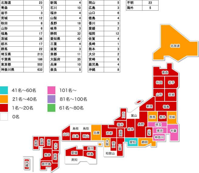 川崎中央クリニックの全国各地からの来院人数
